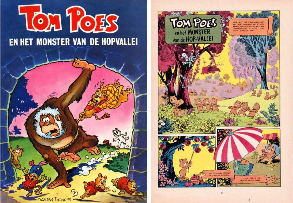Omslag till en utgåva från 1979 och inledande sida av episoden, Tom Poes en het monster van de Hop-vallei, från 1962, ur serietidningen Donald Duck. ©STA