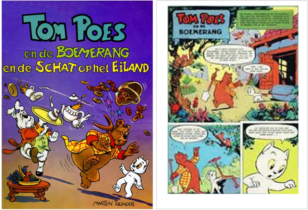Omslag och en sida ur inlagan i original ur den 72:a episoden Tom Poes en de boemerang, från 1959-60. ©STA