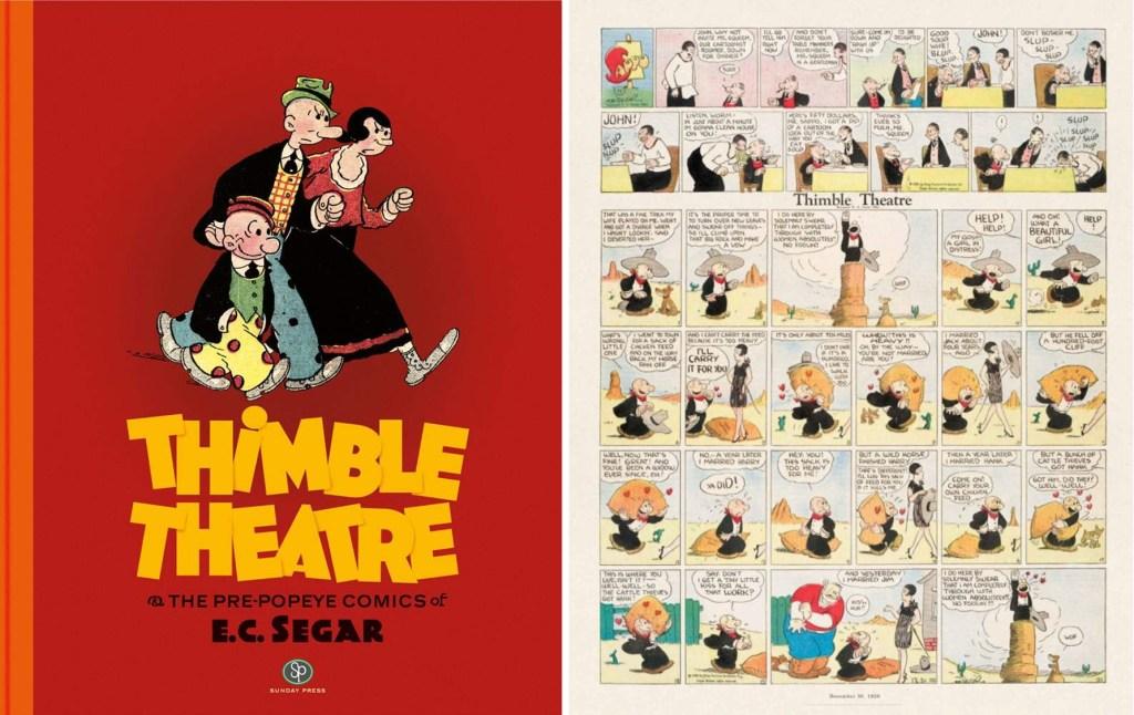 Omslag och en sida ur Thimble Theatre: And the pre-Popeye Comics of E.C. Segar (2018). ©Sunday Press