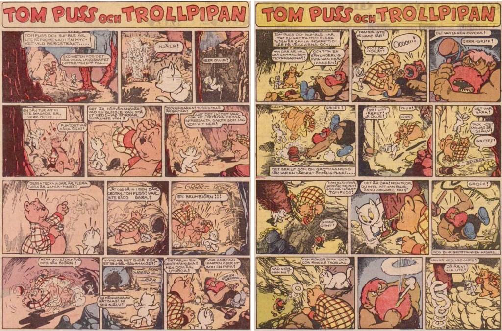 Inledningen till tionde episoden med Tom Puss i söndags-DN, från 3 och 10 januari 1954. ©STA
