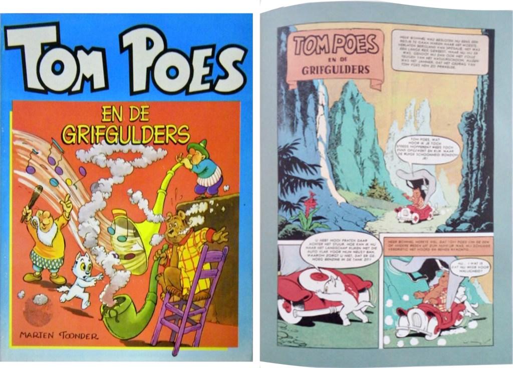 Omslag och en sida ur inlagan i original ur den 73:a episoden Tom Poes en de grifgulders, från 1960, ur en utgåva från 1983. ©STA