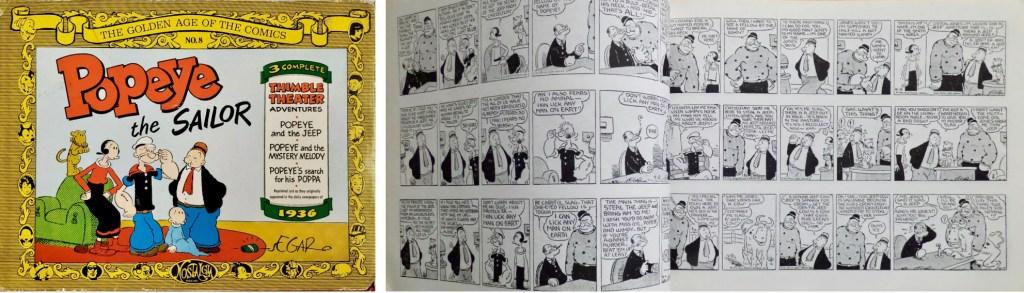 Omslag och ett uppslag ur Popeye the Sailor (1971). ©Nostalgia