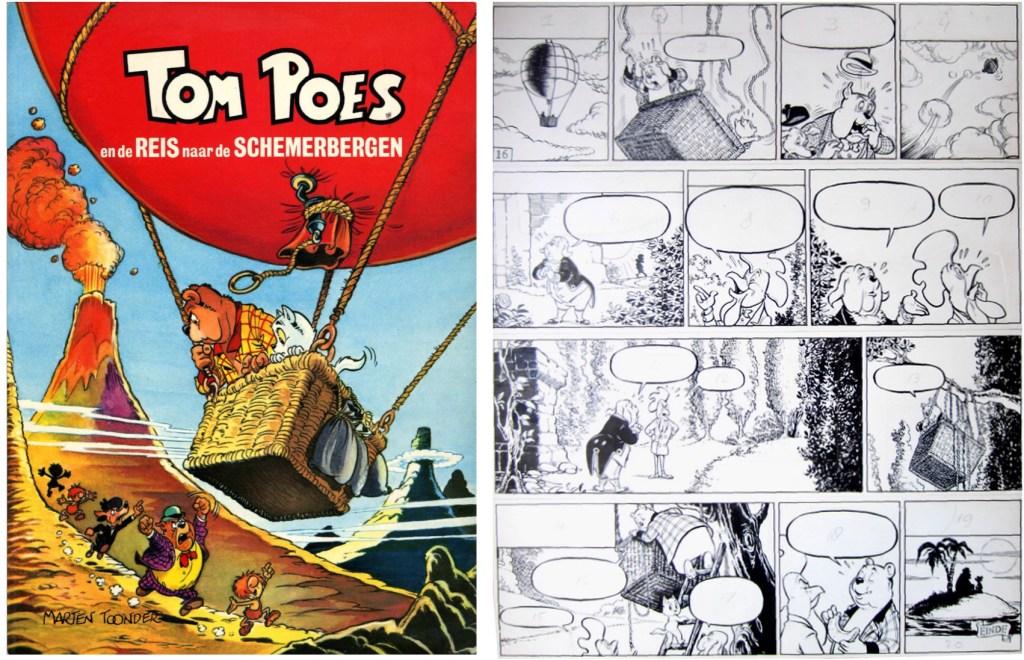 Omslag ur en utgåva från 1978 och original till avslutningen av den 81:e episoden, Tom Poes en de reis naar de Schemerbergen, från 1962. ©STA