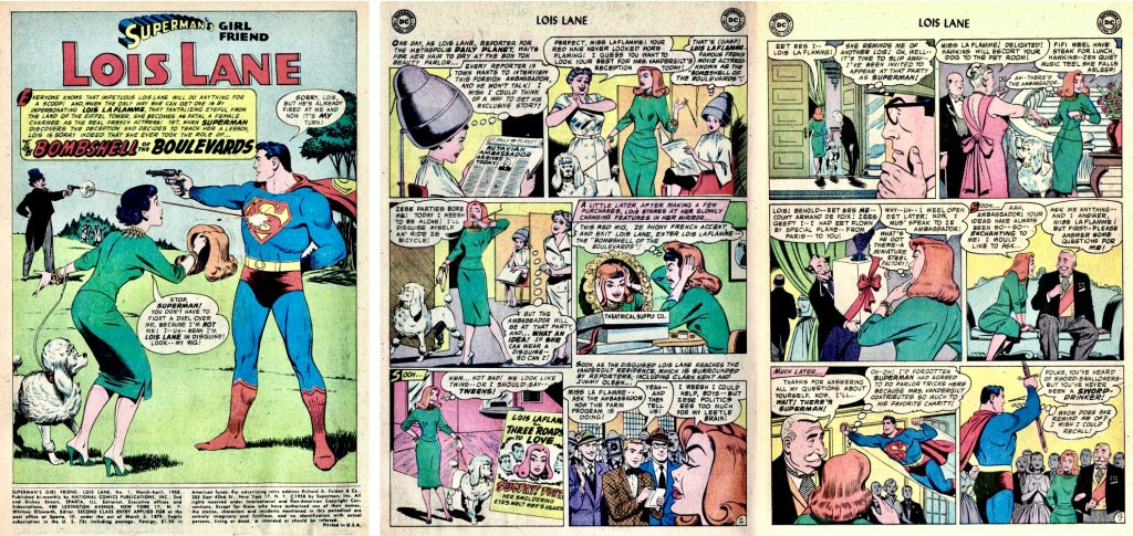 Inledande sidor till en serie av Schaffenberger ur Superman's Girl Friend, Lois Lane #1 (1958). ©DC