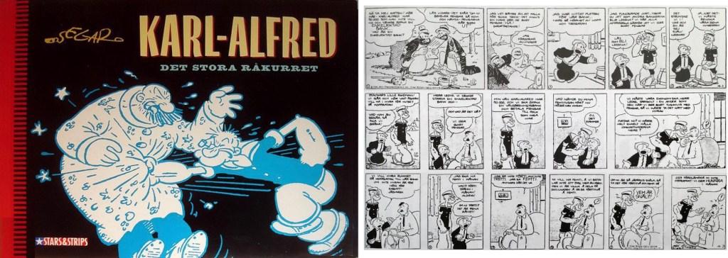 Omslag och en sida med strippar från 1-3 april 1931, ur Det stora råkurret (1994). ©Epix/Bulls