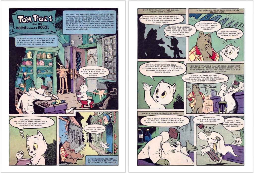 Ett par sidor i original ur den 68:e episoden, Tom Poes en de boemel naar Doezel, från 1959. ©STA