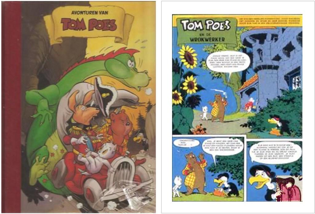 Omslag och en sida ur inlagan i original från den 76:e episoden Tom Poes en de wrokwerker, från 1960, ur en utgåva från 2003 tillsammans med två andra episoder. ©STA