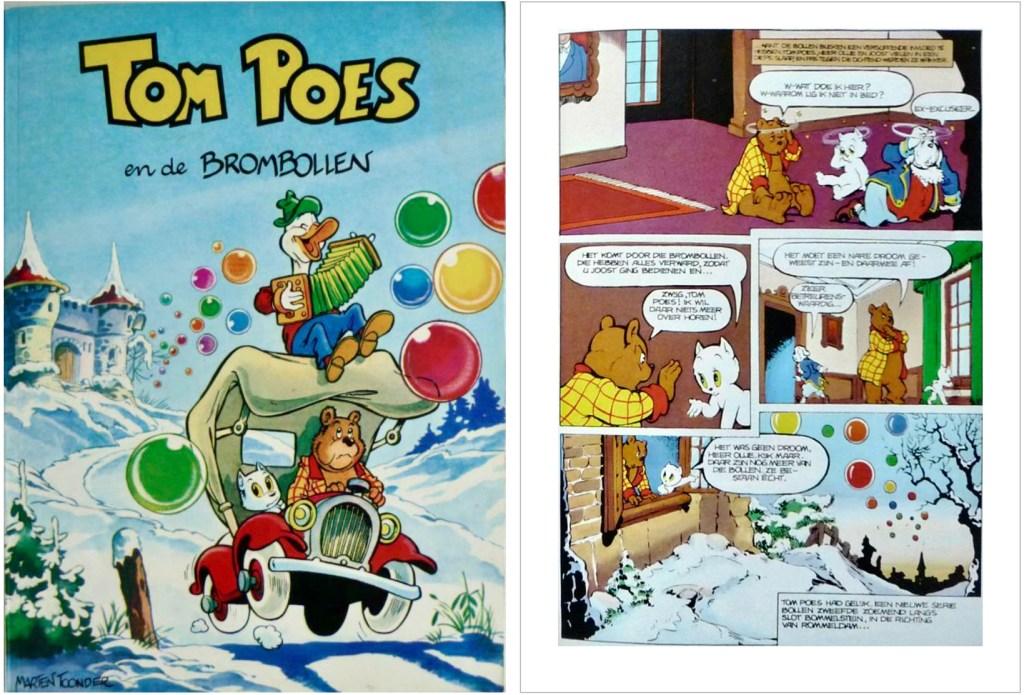 Omslag och en sida ur inlagan i original ur episoden Tom Poes en de brombollen, från en utgåva från 1956. ©STA