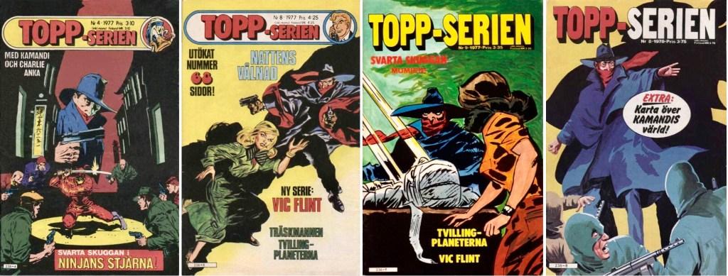 Några omslag till Topp-serien med Svarta Skuggan. ©Semic