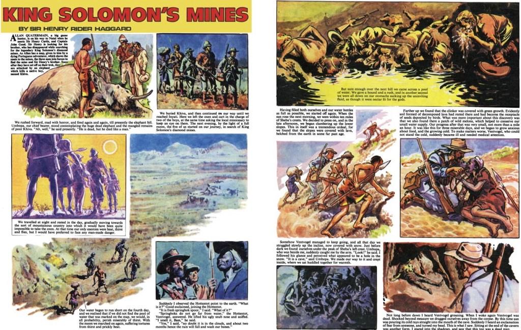 Ett uppslag med King Solomon's Mines, för The Ranger. ©Fleetway