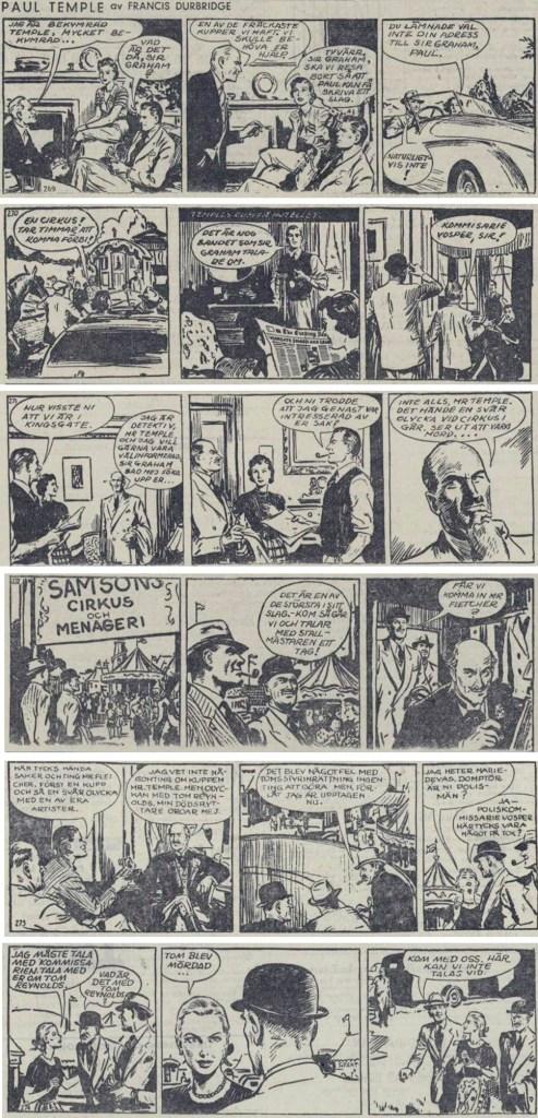 Inledningen till den fjärde episoden med Paul Temple, The Circus Mystery, ur DN från 11-17 december 1952. ©Bulls