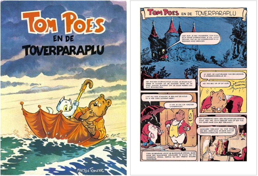 Omslag och inledning i original ur episoden Tom Poes en de toverparaplu, från en utgåva från 1956. ©STA