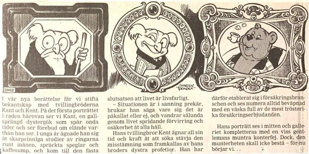 Dagsstripp nr 3982 (ursprungligen från 19 november 1960), ur DN 26 januari 1994 i ny översättning, inleder det 89:e äventyret med Tom Puss. ©STA