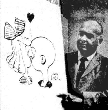 Serietecknaren John Liney föreläser om tecknade serier (1968).