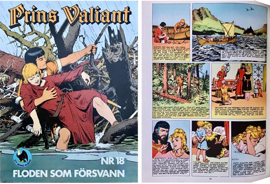 Motsvarande sida i seriealbumet Prins Valiant nr 18, Floden som försvann. ©Semic/Bulls
