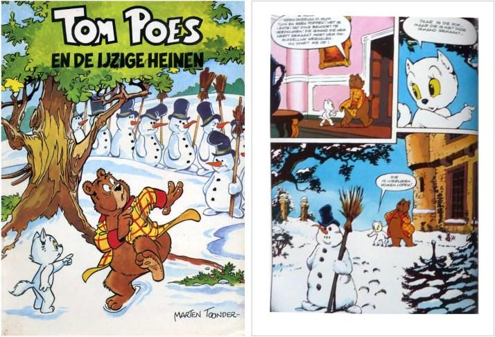 Omslag och en sida ur inlagan i original ur episoden Tom Poes en de ijzige heinen, från en utgåva från 1958. ©STA