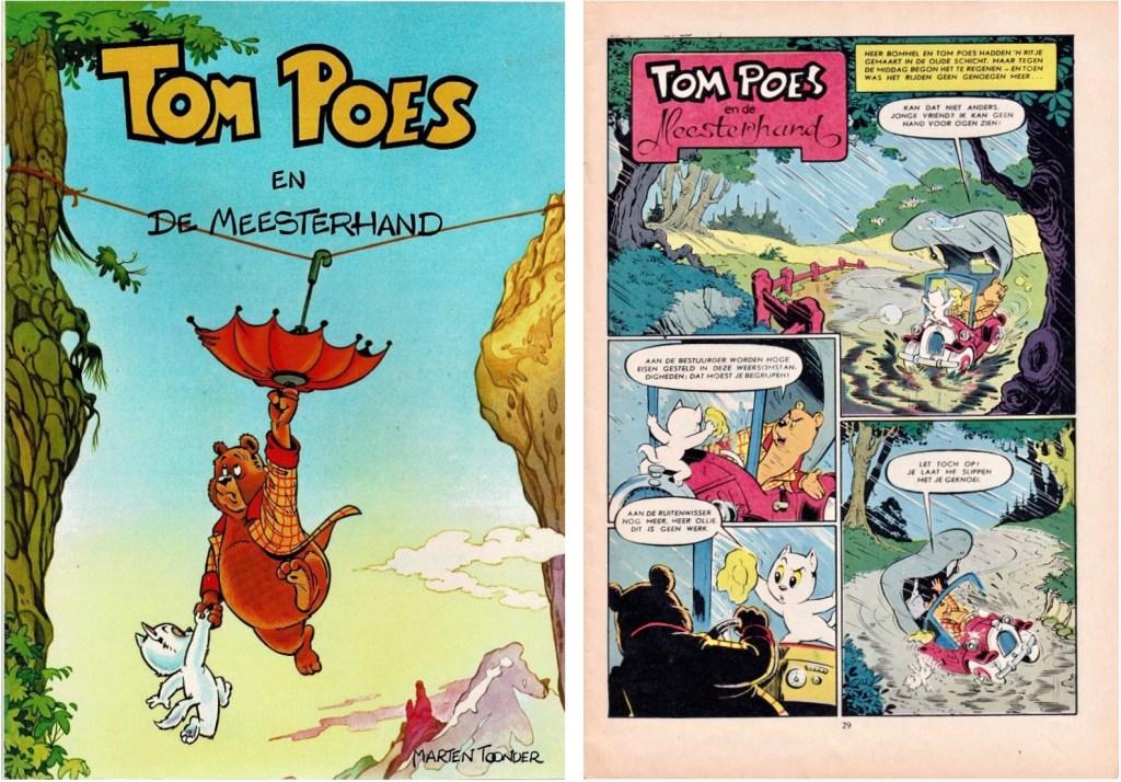 Omslag till en utgåva från 1979 och inledande sida av den 88:e episoden, Tom Poes en de meesterhand, från 1962, ur serietidningen Donald Duck. ©STA