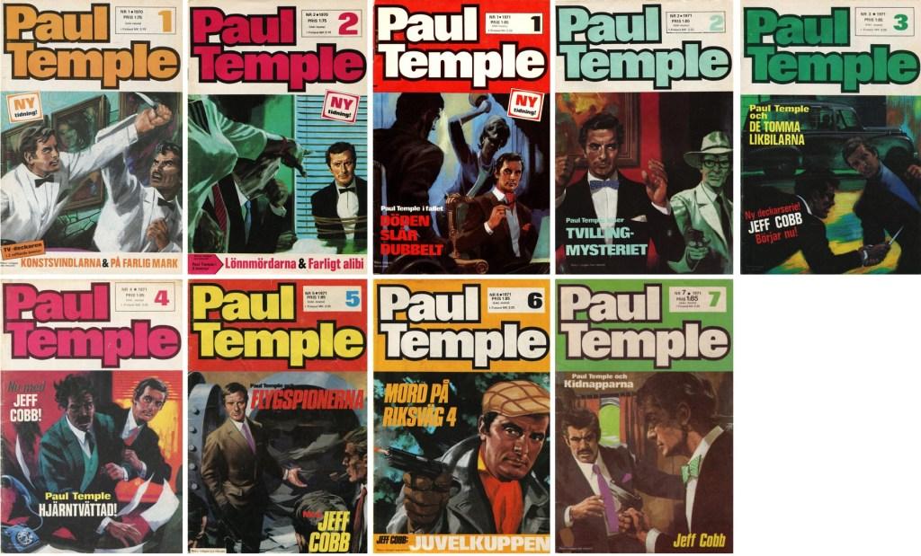 Omslag till Paul Temple nr 1-2, 1971 och nr 1-7, 1972. ©Semic