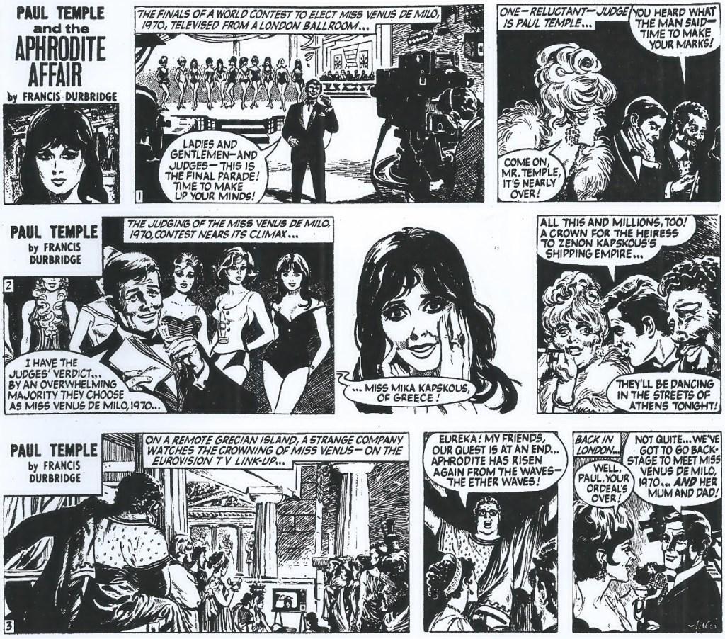 De tre inledande dagsstripparna ur The Aphrodite Affair.