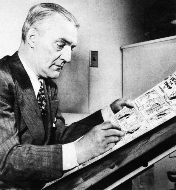 Skaparen av Pete the Tramp, Clarence D. Russell, vid ritbordet.