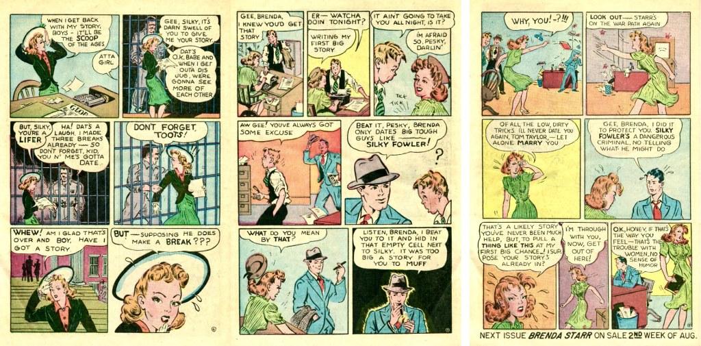 Motsvarande sidor ur Brenda Starr Comics #13 (1947). ©CT/NYNS