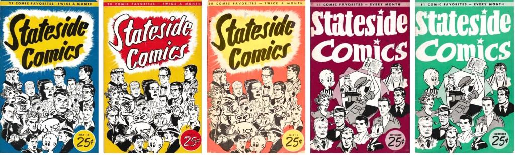 Omslag till några nummer av Stateside Comics, från maj till oktober 1953. ©Pacific