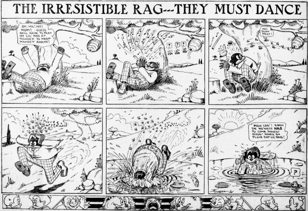 En söndagssida med The Irresistible Rag från 16 augusti 1914. Rag är alltså ett musikstycke.