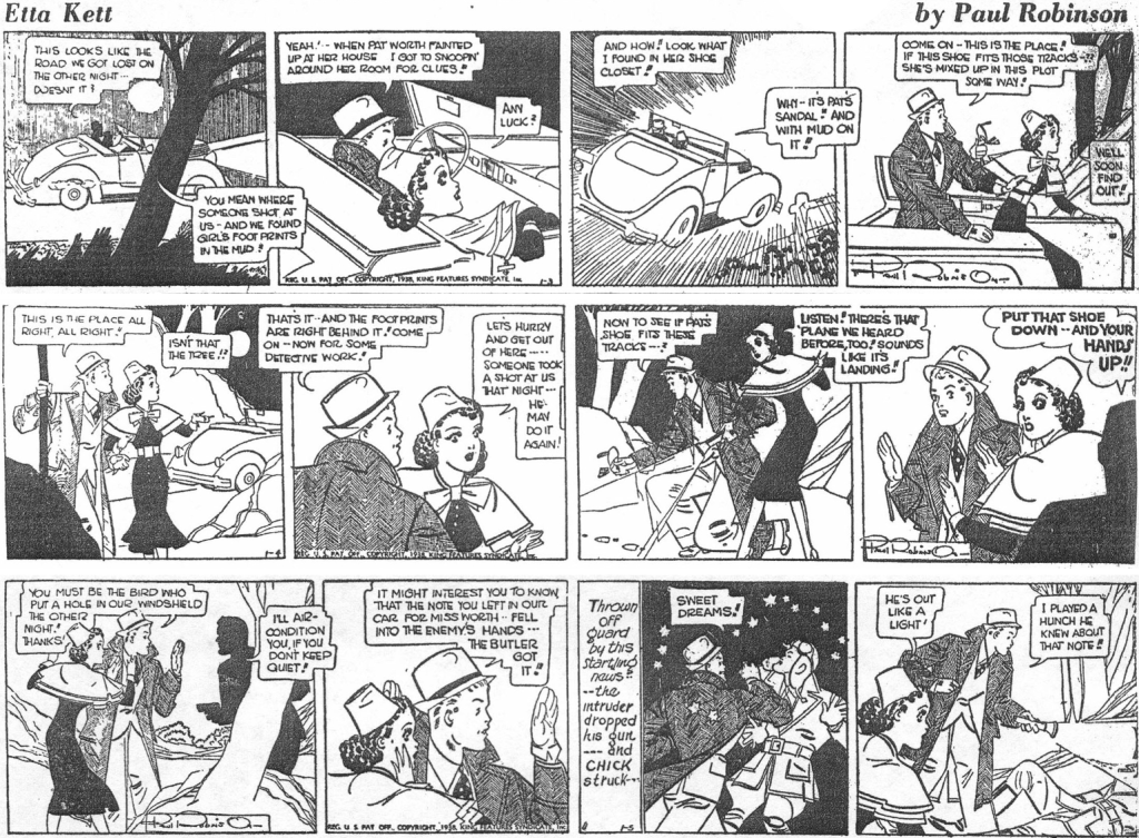 Några dagsstrippar med Etta Lett, när det var en fortsättningsserie av äventyrskaraktär, från 3-5 januari 1938. ©KFS