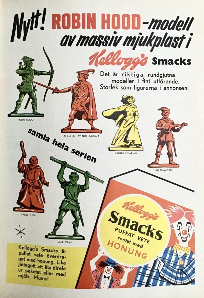 Annons för Robin Hood-figurer ur Kalle Anka & C:o nr 29, 1959. ©Kellogg's