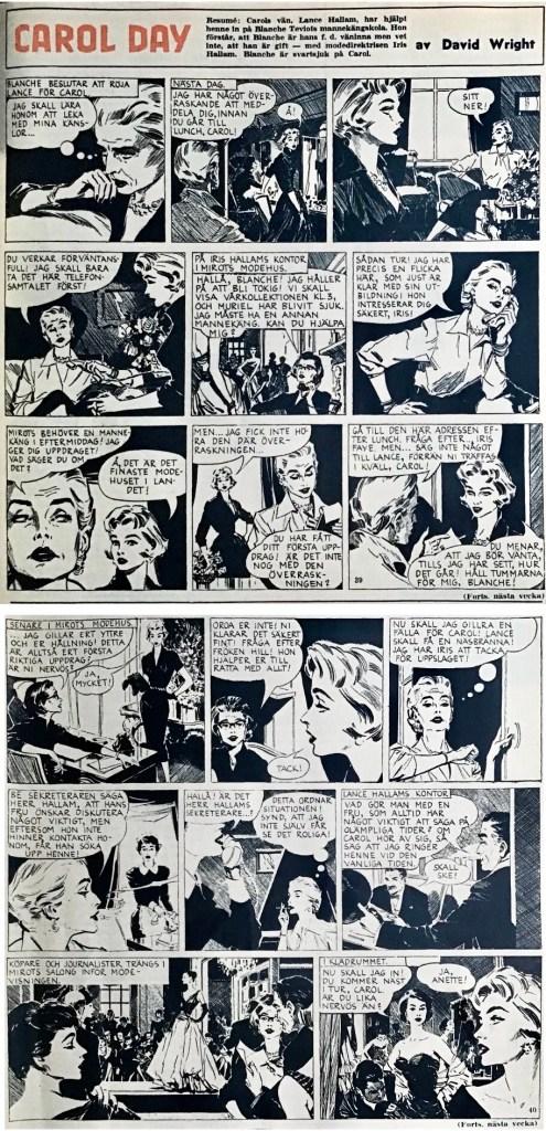 Strippar med Carol Day ur Allas nr 39 och 40, 1958. ©Daily Mail