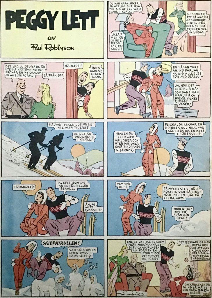 Helsida med Peggy ur veckotidningen 25an (Tjugofemman) nr 11, 1943. ©Bulls