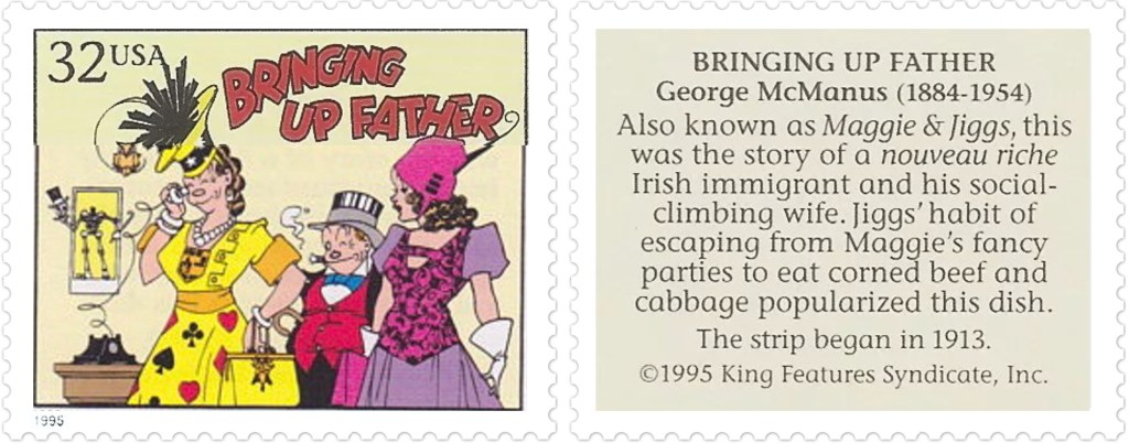 Comic Strip Classics-frimärket med Bringing Up Father av George McManus (1884-1954). ©KFS