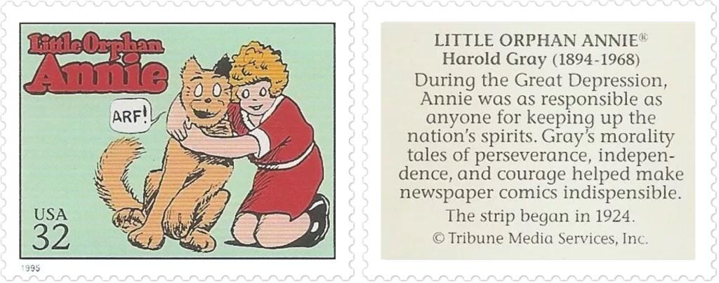 Comic Strip Classics-frimärket med Little Orphan Annie av Harold Gray (1894-1968). ©TMS