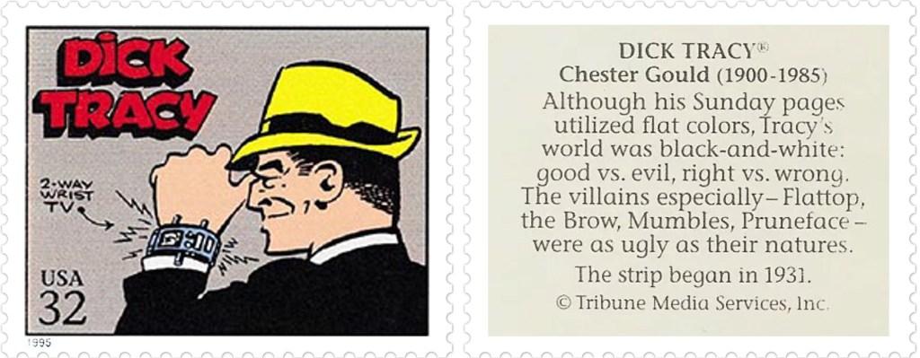 Frimärket med Dick Tracy av Chester Gould (1900-85). ©TMS