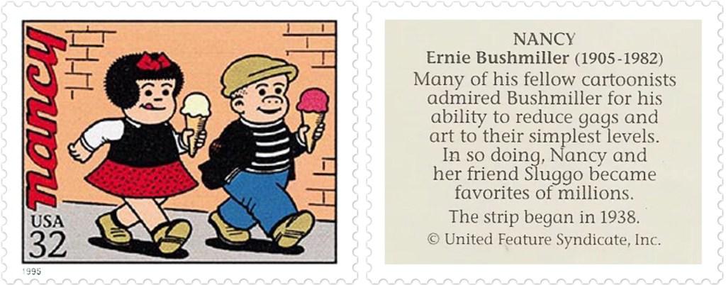 Frimärket med Nancy av Ernie Bushmiller (1905-82). ©UFS