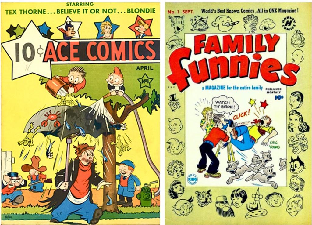 Omslag till Ace Comics #1 (1937) och Family Funnies #1 (1950). ©McKay/Harvey