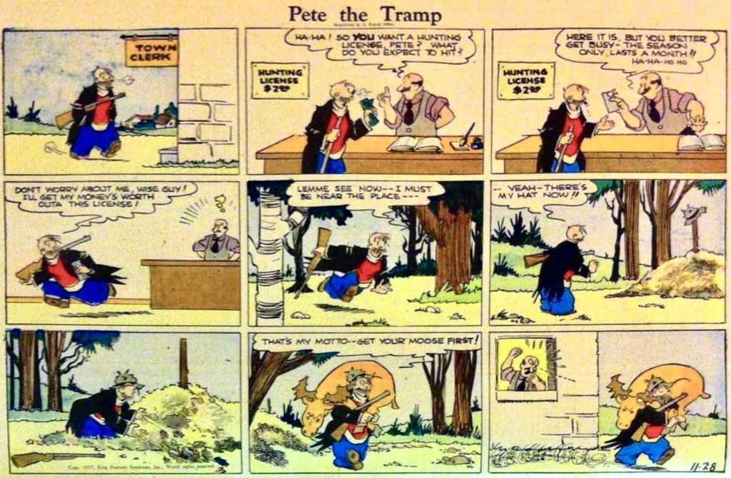 En söndagsstripp med Pete the Tramp från 28 november 1937. ©KFS