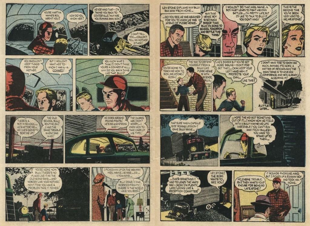 Ett uppslag med sidorna 8-9 ur The Story of Martha Wayne #1 (1956). ©Argo/NEA