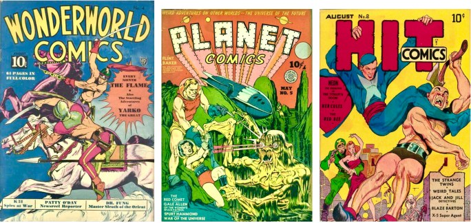 Omslag till Wonderworld Comics #2 (1939), Planet Comics #5 (1940), och Hit Comics #8 (1940). ©Fox/Fiction House/Quality Comics
