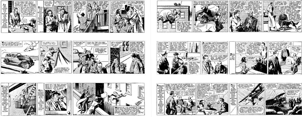 Ett uppslag (från 25-30 mars 1935) ur boken Secret Agent X-9 (2011). ©KFS