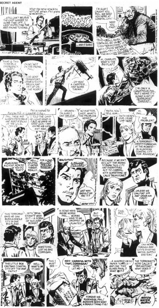 Första veckan ur den 204:e episoden, Treachery in Coastal City, med strippar av Evans, från 4-9 februari 1980. ©KFS
