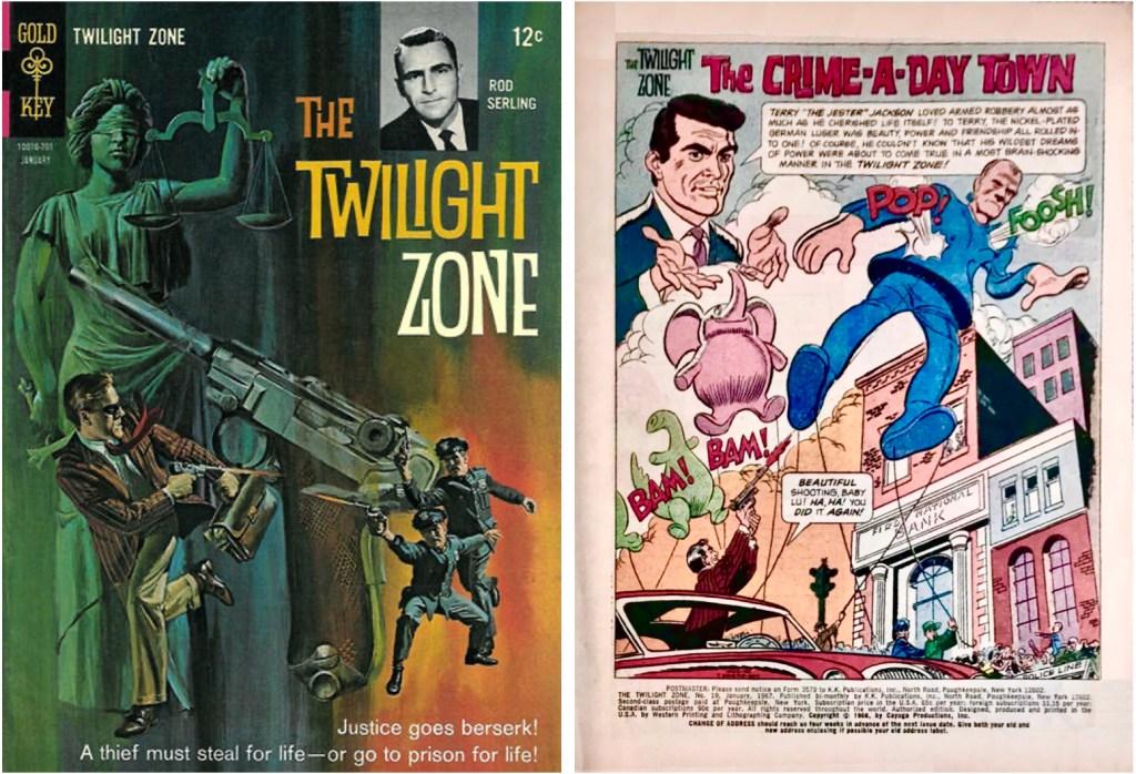 Omslag till The Twilight Sone #19 (1967) och inledande sida till en serie av Lubbers. ©Cayuga/Western