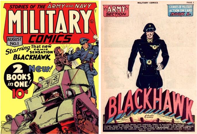 Omslag och inledande sida ur Military Comics 1 (1941). ©Comic Magazines