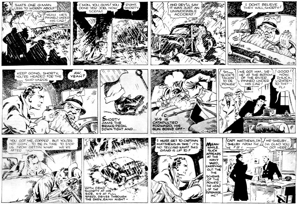 Några dagsstrippar av Afonsky, från 13-15 oktober 1938, ur den 28:e episoden Espionage Inc. ©KFS