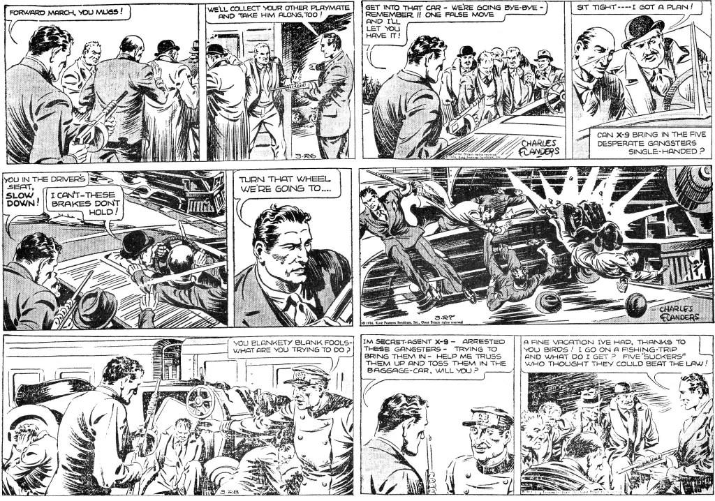 Avslutningen på episoden A Peaceful Vacation that's the idea, från 26-28 mars 1936, den sista episoden av Charteris. ©KFS