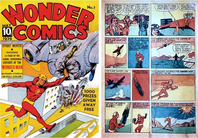 Omslag till Wonder Man #1 (1939), och en sida som visar hans superkrafter. ©Fox