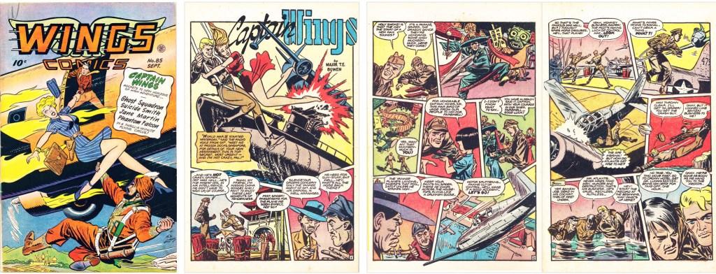 Omslag, och inledning till serien Captain Wings, ur Wings Comics #85 (1947). ©Fiction House