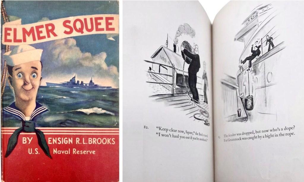 Boken om Elmer Squee, och ett uppslag med Elmer på rimmad vers. ©McMillan