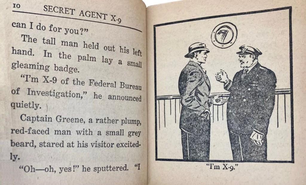 Ett uppslag ur Secret Agent X-9 and the Mad Assassin (1938). ©Whitman