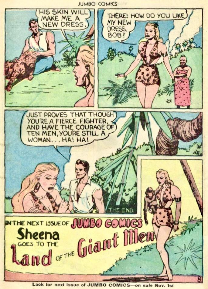 Sheena har för första gången på sig sin ikoniska leoparddräkt (en nog så stor anledning till seriens dåtida popularitet), ur Jumbo Comics #10 (1938). ©Real Adventures Publishing